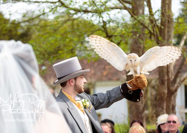 groomsmen catches owl carrying the wedding rings down the aisle at Powder Mills Wedding venue in Battle