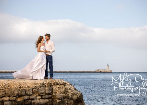 Malta Wedding Photos in Valetta with lightouse