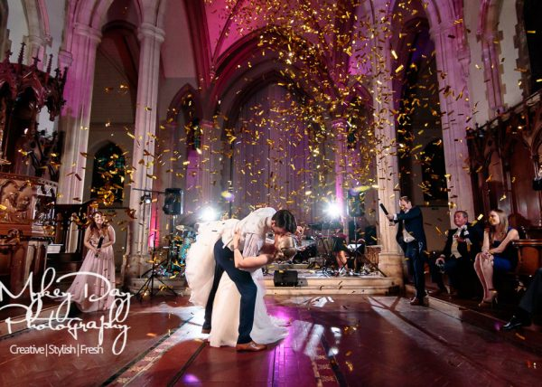 confetti cannon first dance wedding at St. Augustines Kent