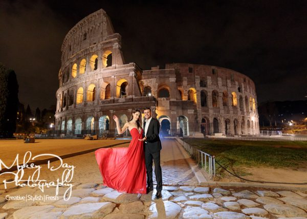 Rome Colosseum Wedding Photography Night time engagement photos