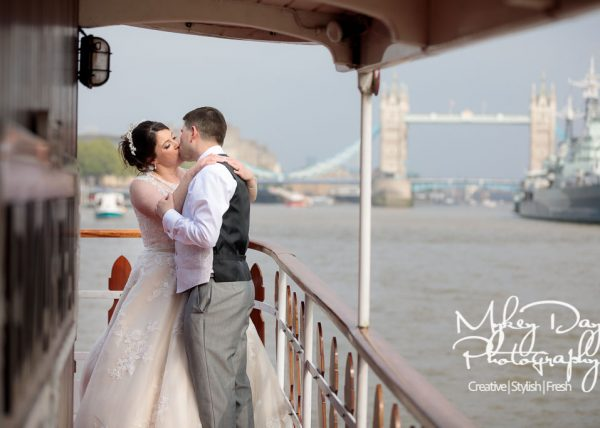 London Wedding Photography Thames Luxury Cruises Wedding on Elizabethan Boat Tower Bridge