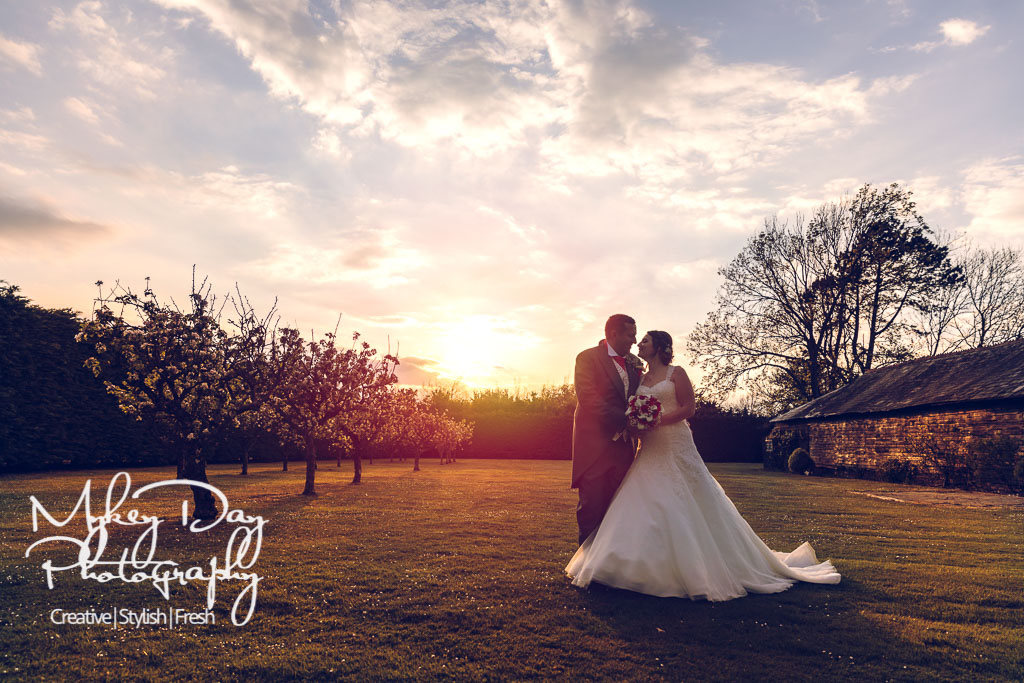 Winters Barns Wedding Venue in Kent - sunset bride and groom