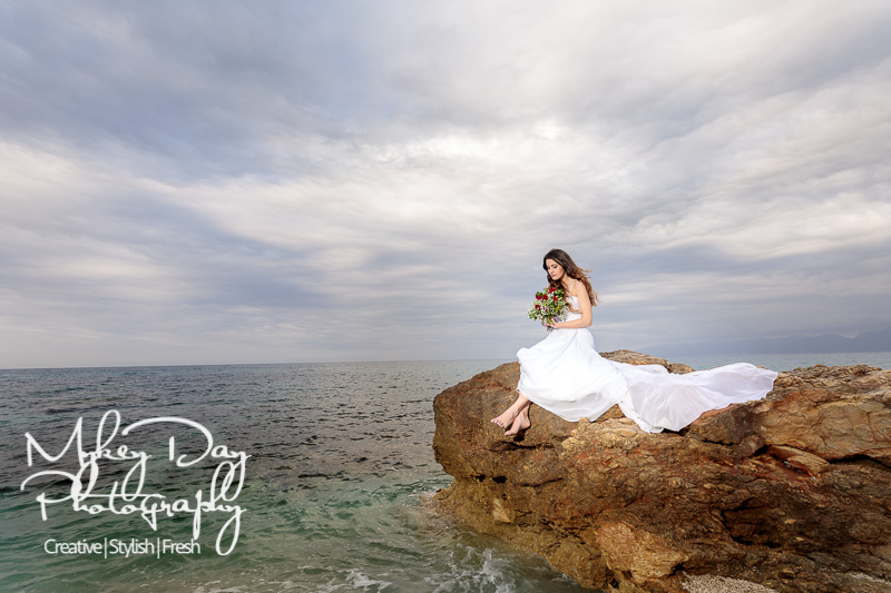 Crete-Wedding-Greece-Photography-Bride-on-Rock-at-Sea-www.MykeyDay-Photography.com-2 Mykey Day Kent Wedding Photographer Interview